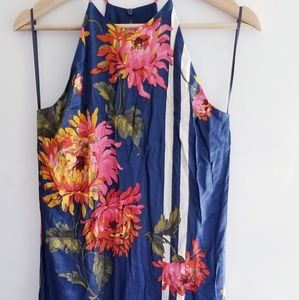 Blue Dress with White Strip and Flowers